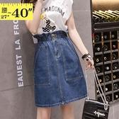 牛仔裙--休閒個性高腰鬆緊大口袋造型牛仔A字短裙(藍M-5L)-Q107眼圈熊中大尺碼◎