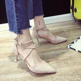 春季單鞋女新款小清新百搭貓跟尖頭細跟高跟鞋一字扣晚晚女鞋