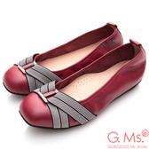 G.Ms.*MIT系列-牛皮方頭鬆緊帶鑽飾娃娃鞋*紅色