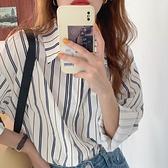 韓系襯衣復古小眾 翻領單排扣條紋寬松襯衫KK021快時尚