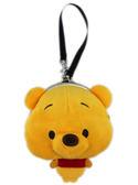 【卡漫城】 維尼熊 絨毛 零錢包 ㊣版 小熊 維尼 雙珠扣 扣環 收納包 Pooh Winnie 立體 吊飾 吊繩 造型