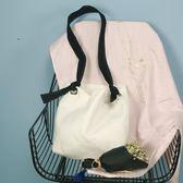 正韓帆布包單肩包帆布袋水桶包秋季新款簡約百搭單肩斜跨大包包女禮物限時八九折