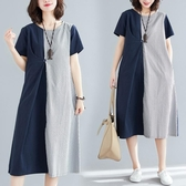 大尺碼 洋裝夏季新款韓版寬鬆大碼洋氣遮肚顯瘦減齡條紋拼接棉麻短袖連衣裙女 快速出貨