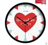 小鄧子創意個性客廳靜音石英鐘錶 家居裝飾 浪漫婚禮臥室掛鐘(10英寸)