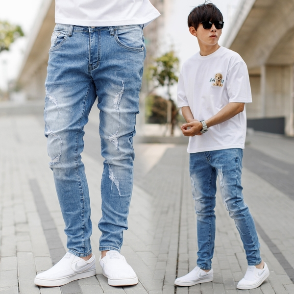牛仔褲 韓國製立體抓皺刷白小抓破合身版牛仔褲【NB1018J】