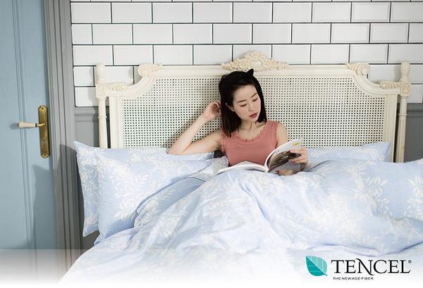快速出貨【LORIA洛莉亞】超便宜平價天絲TENCEL天絲四件式床包組~標準雙人【輕語~藍】