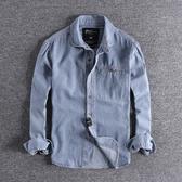 長袖襯衫 新款歐美復古水洗做舊青年牛仔襯衣時尚翻領男士長袖襯衫外套