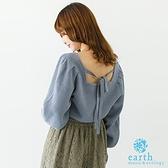 「Winter」後綁帶方領蓬袖針織衫 - earth music&ecology