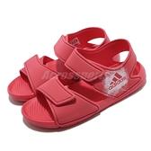 adidas 涼鞋 AltaSwim C 桃紅 白 童鞋 中童鞋 涼拖鞋 魔鬼氈 【ACS】 BA7849