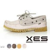 XES 男鞋  接拼 撞色 雷根 帆船鞋 白色