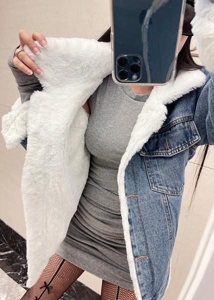 克妹Ke-Mei【ZT63426】平台限定! 男友個性內裡厚羊絨反折袖厚立領牛仔外套