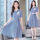 大尺碼短袖洋裝 女2019新款夏季女裝特大碼a字裙中長款遮肚襯衫連衣裙 zh7999『美好時光』