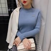 特惠 秋冬新款韓版套頭毛衣女百搭長袖針織打底衫蕾絲拼接立領上衣