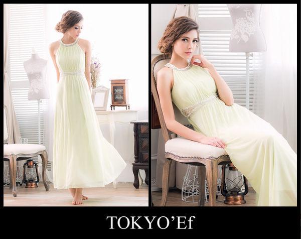 東京衣服 月光派對 典雅削肩 璀璨碎鑽女神風高雅設計細褶長禮服 粉綠