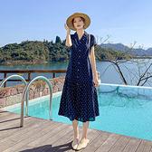 V領短袖洋裝~9301高腰長款連衣裙女雪紡波點圓點藍色短袖荷葉邊長裙H-325 胖妞衣櫥