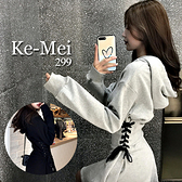 克妹Ke-Mei【AT69937】獨家,愛死了!腰釘釦馬甲綁帶收腰連帽小洋裝
