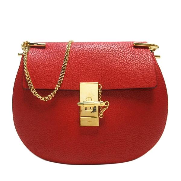 Chloe 克羅伊 紅色牛皮圓弧造型金釦肩背斜背包 小豬包 Drew Shoulder Bag BRAND OFF