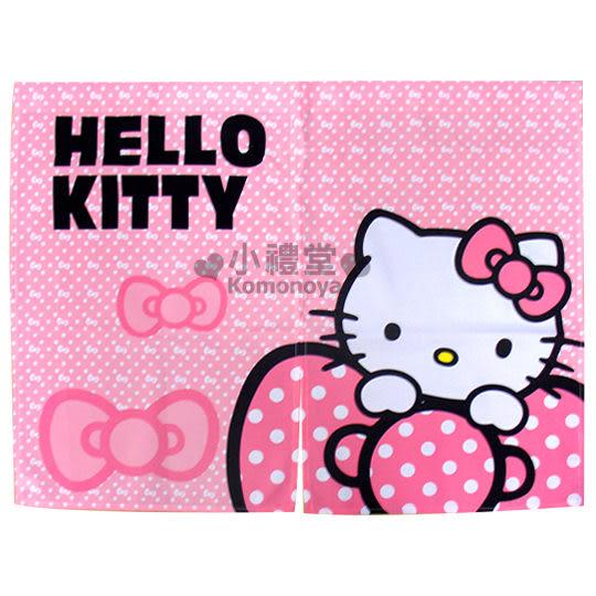 〔小禮堂〕Hello Kitty 中長門簾《粉紅.蝴蝶結》85x68cm  4716873-52058