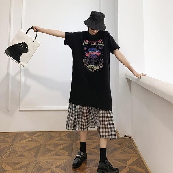 胖妹妹洋裝連身裙~大碼洋裝~/長寬松大碼拼接黑白格短袖連身裙JYF5愛尚布衣