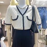 2021夏季設計感小眾V領泡泡短袖拼接撞色杏色襯衫鏤空蕾絲上衣女 幸福第一站