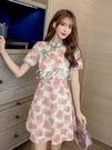 旗袍 夏季新款時尚中國風復古改良旗袍刺繡印花顯瘦連身裙女潮