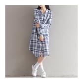 現貨 長袖洋裝 格紋 棉麻 薄款 長版 襯衫 長袖 連身裙 XL碼【BS5902】ENTER