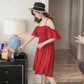 孕婦裝夏性感抹胸顯瘦一字肩露肩吊帶裙荷葉袖紅色孕婦洋裝【一件免運】
