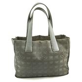 【奢華時尚】CHANEL BELL LINE 香檳銀色帆布肩背小托特包(八成新)#25002