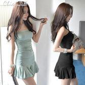 洋裝夏季性感夜店女裝一字領露肩緊身裙子顯瘦抹胸魚尾洋裝「Chic七色堇」