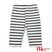 JJLKIDS 女童 個性條紋彈力六分內搭褲(黑白條)
