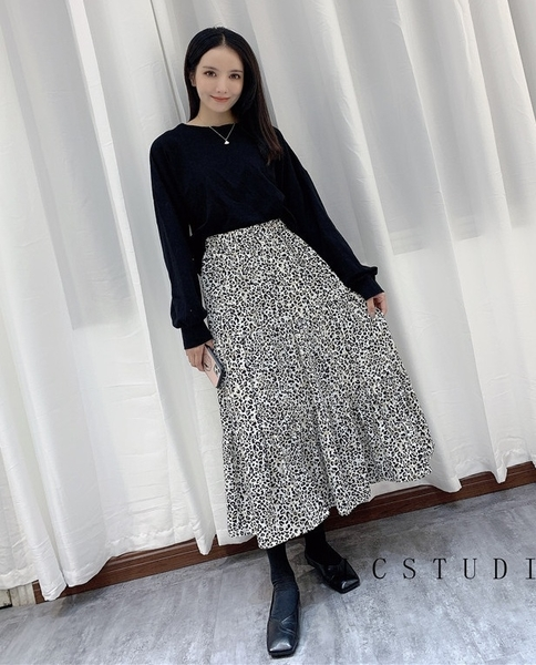I8806# 秋裙子豹紋拼接裙半身裙中長款 &小咪的店&