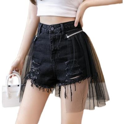 短褲 牛仔裙 夏高腰寬松顯瘦網紗拼接牛仔短褲A字破洞熱褲裙H300快時尚