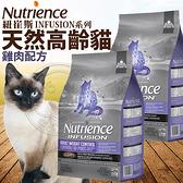 【培菓寵物48H出貨】Nutrience紐崔斯》INFUSION天然糧高齡體控貓-雞肉貓糧-2.27kg(蝦)