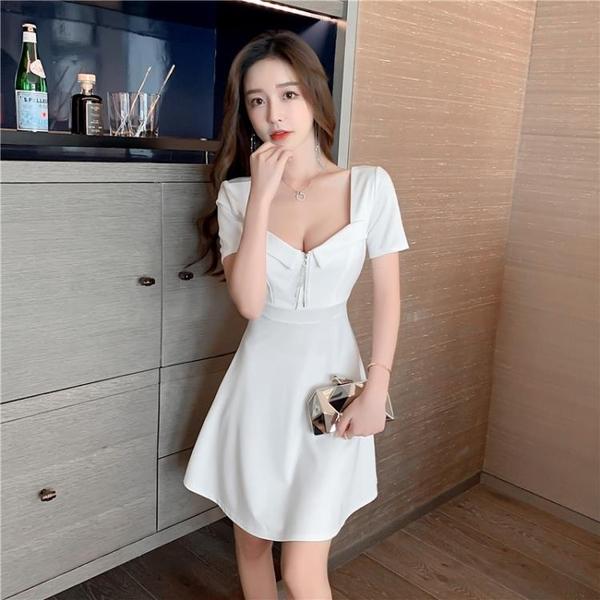 洋裝91713方領短袖大擺連身裙夜店小黑裙拉鏈裝飾低胸短袖大擺裙G507-B.1號公館
