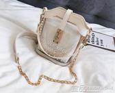 手提包透明包包女新款韓版仙女百搭斜挎包液體果凍包少女小挎包斜跨 99免運