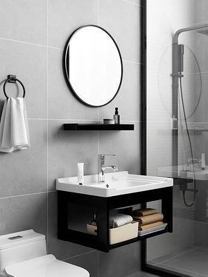 陶瓷掛牆式陽台洗手盆櫃組合壁掛洗臉盆家用小戶型衛生間洗手面盤 夢幻小鎮