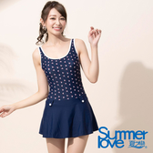 【Summer Love 夏之戀】海軍風連身帶裙泳衣(E17789)