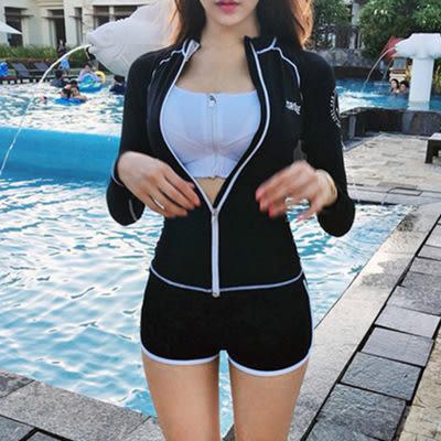 【現貨】韓版保守分體平角遮肚顯瘦三件套泳裝 泳衣 W44669