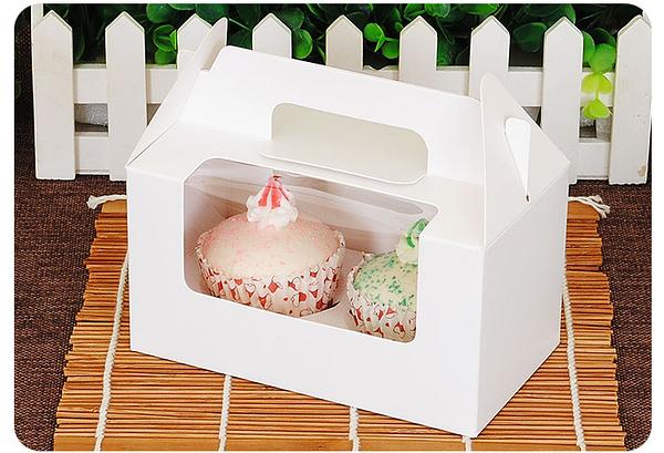 2格 開窗 純白無印手提盒 馬芬瑪芬盒【C048】杯子蛋糕 蛋糕盒 慕斯 月餅盒 包裝盒 禮盒 蛋塔盒