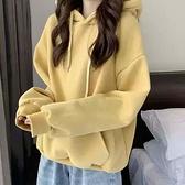 寬鬆素色長袖連帽運動衫女裝春秋季2021新款韓風小個子加絨加厚炸街上衣學生衛衣