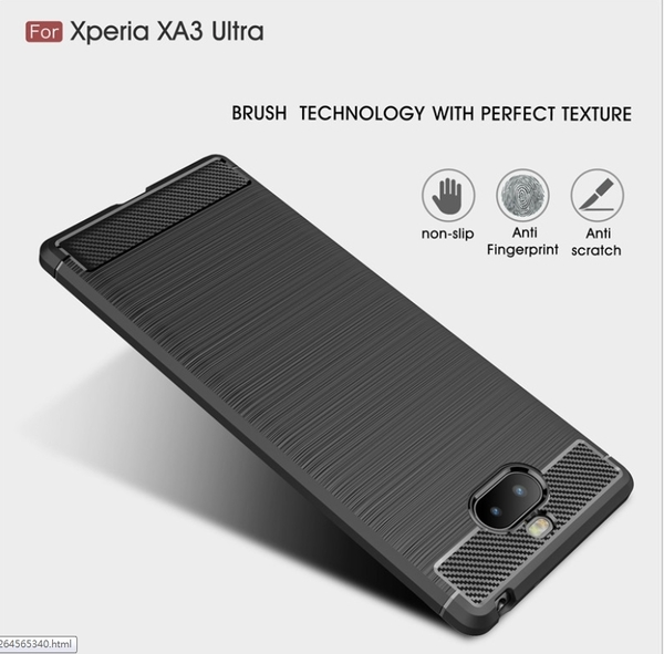 King*Shop--索尼XZ4/Xperia 1碳纖維拉絲TPU保護套XA2 plus磨砂軟膠XZ2P手機殼Xperia10 plus