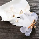 新娘日韓式頭飾發夾飾品 盤發邊夾發夾發飾 白色珍珠絹紗結婚配飾【聖誕節快速出貨八折】