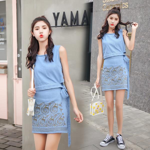 清倉388 韓系小清新上衣牛仔裙裙子短裙套裝無袖裙裝