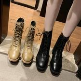 新品馬丁靴女秋季新款網紅百搭靴子韓版粗跟機車英倫風小短靴女潮