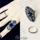 時尚鑲鑽藍寶石女神食指戒指 二件套 (0...