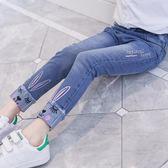 牛仔褲 女童牛仔褲春秋中大童時尚女孩小腳褲潮洋氣長褲兒童褲子【小天使】