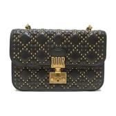 Dior 迪奧 咖啡色牛皮鉚釘滿版肩背包 Dioraddict Flap Bag【二手名牌 BRAND OFF】