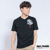 BIG TRAIN 堂獅牡丹V領T-男-黑色