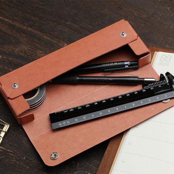 【中秋大降價】日本midori 簡約筆盒筆袋收納盒辦公文具盒子再生紙革鉛筆盒