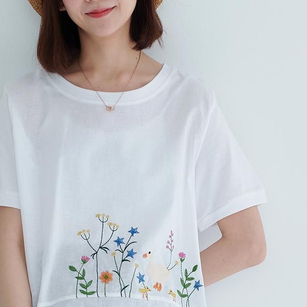 【慢。生活】輕文藝花草鳥型刺繡上衣 1186  FREE 白色